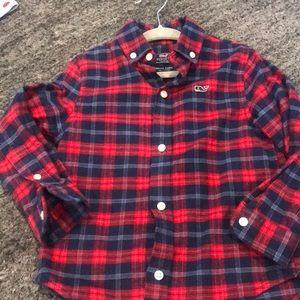 Vineyard Vines Blue/red plaid flannel boys shirt